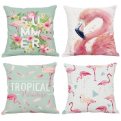Hoomall Flamingo Cartoon Sofa Cushion Case Throw Pillow Cover 46cm x 46cm without Core Set of 4