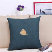 Printed Leaf Cotton Linen Pillowcase Cushions Living Room Sofa Home Decoration Cushions Car Cushions Office Blue Cushions Nap Pillow, A2, 45 * 45Cm