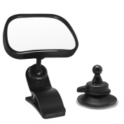 Hysagtek Baby Car Mirror Rear Facing Mirror Interior Car Rear View Mirror with 2 Mounting Options- Strong Suction Cup and Clip-View Your Baby Is Safe in Back Seat,Black
