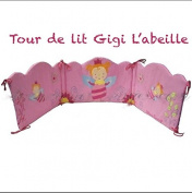 Embroidered Baby Cot Bumper Gigi the Bee Bed 60x120 and 70x140 Katherine Roumanoff -