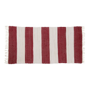 Relaxdays Striped Rag Rug 70 x 140 cm with Fringe made of 100% Cotton, Hallway Mat, White-Red