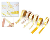 DSstyles Adhesive Washi Tape 6 Rolls Shining Gold Masking Tape Decorative Tape Set for Scrapbooking DIY Crafts