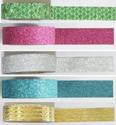 "'5 Rolls 10 m Length, Washi Decorative Tape ""Multicolor Rice Paper Tape"