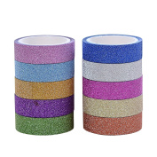Hangnuo 10 Rolls Mix Colours Bling Decorative Washi Tape DIY Sticker by Hangnuo
