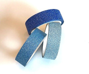 Angel Malone ® 3 Shades of Blue Glitter Plain Paper Washi Tape Deco Masking Tape. Great for all your Crafts