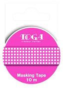 Toga MT86 Gingham Masking Tape Washi Tape, Grenadine/Blanc, 5,5 x 7 x 1,5 cm