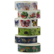 UOOOM 6pcs 10m x 15mm Decorative Washi Tape Masking Tape Adhesive Scrapbooking DIY Craft Gift