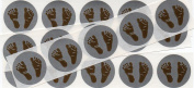 2.5cm Round Silver Baby Feet Scratch Off Stickers, Pack of 50