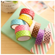 Crafts Tape, 8PC DIY Dots Decorative Washi Rainbow Sticky Paper Adhesive Tape