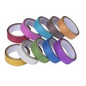 Glitter washi tape,Clode® 10 PCS Glitter Washi Sticky Paper Masking Adhesive Tape Label DIY Craft Decorative