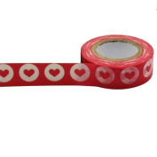 Masking Washi Paper 15mm x 10m Gift Craft Tape Rolls Decoration N16. Heart Design