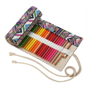 Canvas Pencil Wrap Stationary Bag - LATH.PIN Cute Roll-up Pencils Pouch Case Holder for Students Girls Boys 48 Holes