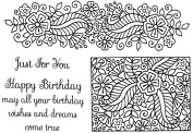 """Sweet Dixie """"Fantasy Floral Border and Panel"""" Clear Stamp"""