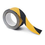Relaxdays Anti-Slip Tape 5 m Grip Tape Anti Slip for Non-Slip Steps Traction For Indoor And Outdoor Use, 50 mm, Black-Yellow