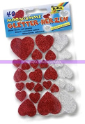 40 Rubber Red and Silver Glitter Foam Adhesive Hearts