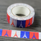Angel Malone 1 x Large 10M Roll (#03-Colourful) Paris Eiffel Tower Japanese Paper Washi Tape Deco Masking Tape. Great for all your Crafts