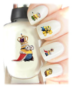 Easy to use, High Quality Nail Art Decal Stickers For Every Occasion! Ideal Christmas Present / Gift - Great Stocking Filler DESPICABLE ME MINIONS - LIMITED EDITION - KING BOB
