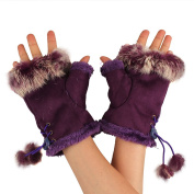 TININNA Elegant Knitted Knit Faux Rabbit Fingerless Gloves Arm Warmers for Women Girls Purple