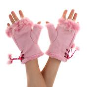 TININNA Elegant Knitted Knit Faux Rabbit Fingerless Gloves Arm Warmers for Women Girls Pink