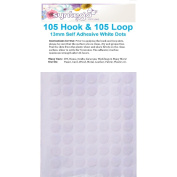 210 Hook and Loop Dots White Sticky Dots Round Coins 13mm Self Adhesive 105 Hooks Plus 105 Loops by Syntego
