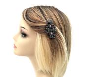Beautiful Blue & Red Diamante Barrette Spring Hair Clip Grip In Dark Silver Vintage Look Hair jewellery