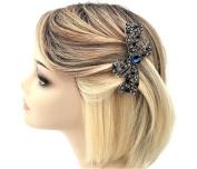 Beautiful Blue Diamante Barrette Spring Hair Clip Grip in an Bow Design Small French Clip