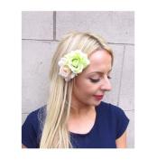 Starcrossed Boutique Double Light Green Cream Rose Flower Hair Clip Fascinator Bridesmaid 1950s 4214