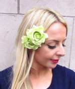Starcrossed Boutique Double Light Green Rose Flower Hair Clip Rockabilly Fascinator Bridesmaid 4212