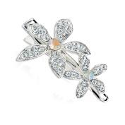 GIZZY® Ladies, Girls Silver Effect Crystal Flowers Beak Style Hair clip.