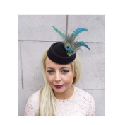 Starcrossed Boutique Green Black Peacock Feather Pillbox Hat Hair Fascinator Races Clip Vintage 4181