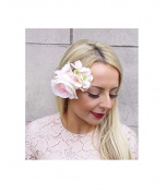 Starcrossed Boutique Blush Pink Cream Rose Hydrangea Flower Hair Clip Fascinator Bridesmaid Vtg 4180
