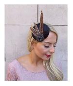 Starcrossed Boutique Navy Blue Green Tartan Pheasant Feather Pillbox Hat Fascinator Hair Clip 4177