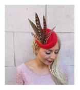 Red Brown Pheasant Feather Pillbox Hat Hair Fascinator Races Clip Vintage 4171