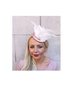 Starcrossed Boutique Rose Gold Cream Sequin Feather Fascinator Pillbox Hat Headpiece Races Clip 4170
