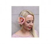 Starcrossed Boutique Beige Pink Blue Rose Gypsophila Flower Hair Clip Fascinator Bridesmaid Vtg 4167