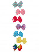 M & Co Jojo Siwa Multi-Coloured Ribbon Hair Bows With Metal Spring Clip Seven Pack Multicolour One Size