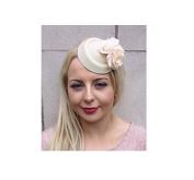 Starcrossed Boutique Small Cream Rose Flower Pillbox Hat Fascinator Hair Clip Races Wedding Vtg 4149
