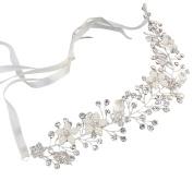 Lisianthus002 Shining Flower Wedding Bridal Hairband with Rinestones and Ribbons