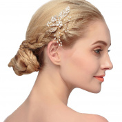 Lisianthus002 Bridal Wedding Hair Comb with Peals and Rhinestones