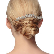 Lisianthus002 Bridal Silvery Crystal Wedding Hair Comb with Rhinestones