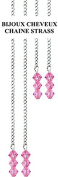 Hair Chain with Pink Crystal. Cold without Glueing and Clip Fixing. 4 per Kit. 2 Long & Short Chains. . with Swarovksi Crystals in Gift Box + 2 Extra . .