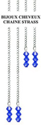 Hair Chain with Sapphire Blue Crystal. Cold without Glueing and Clip Fixing. 4 per Kit. 2 Long & Short Chains. . with Swarovksi Crystals in Gift Box + 2 Extra . .