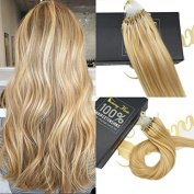 Sunny 60cm 1g/S 50g Loop Micro Ring Hair Extensions Caramel Blonde Highlights with Bleach Blonde Easy Loop Straight Remy Human Hair