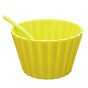 Dreammy Plastic Salad Bowl with Spoon Cute Lace Fruit Bowl Ice Cream Bowl Four Colour Optional Kitchen Supplies Green