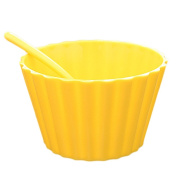 Dreammy Plastic Salad Bowl with Spoon Cute Lace Fruit Bowl Ice Cream Bowl Four Colour Optional Kitchen Supplies Yellow
