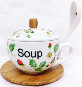 Strawberries & Butterflies Soup Set Bamboo and Ceramic Soup Set Hand Decorated in the UK