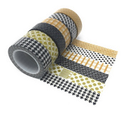 Black Gold Tan Washi – 6 designs - houndstooth chevron polka – 15mm x 10 metres long
