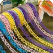 Homgaty 6pcs Roll Decorative Sticky Adhesive Washi Lace Tape for DIY Craft