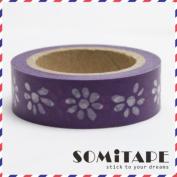 Purple Flowers Washi Tape, Craft Decorative Tape