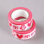 Owls and Hearts Red Washi Tape, Craft Decorative Tape by SHOKK™